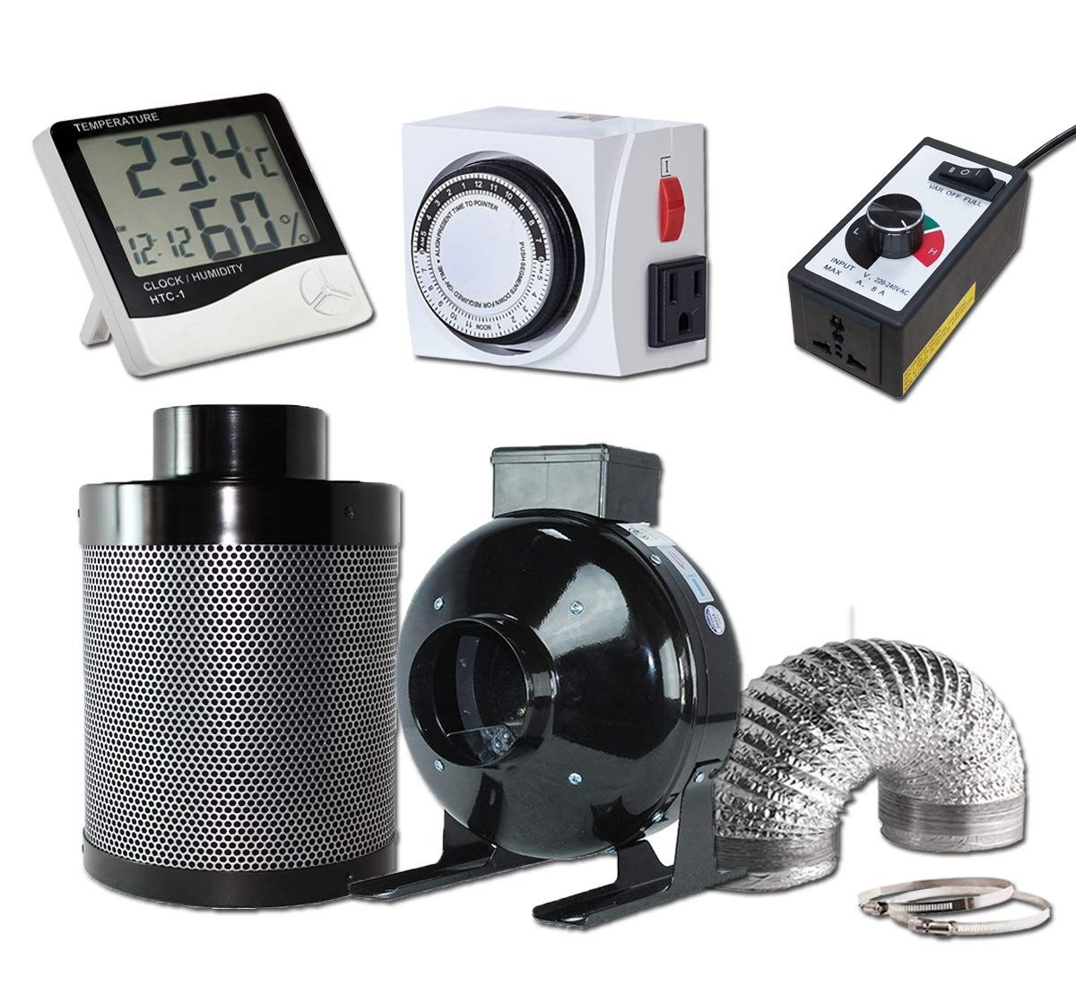 Greenhouser Hydroponics 4 Inch Carbon Air Filter And Inline Fan 25 Feet Ducting With Speed Controller 24 Hour Timer Hygr Carbon Air Filter Combo Kit Inline Fan