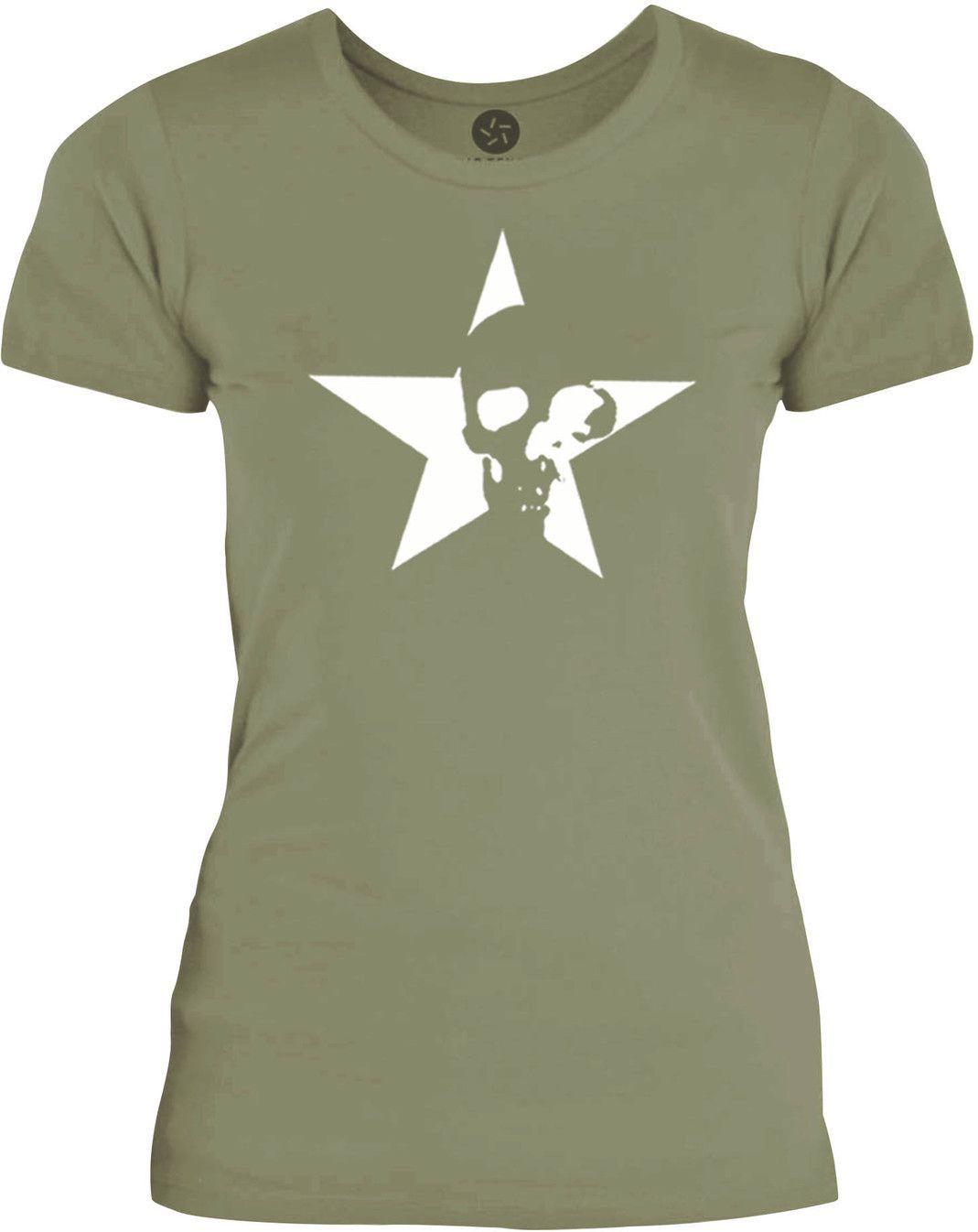 Big Texas Star Skull (White) Womens Fine Jersey T-Shirt