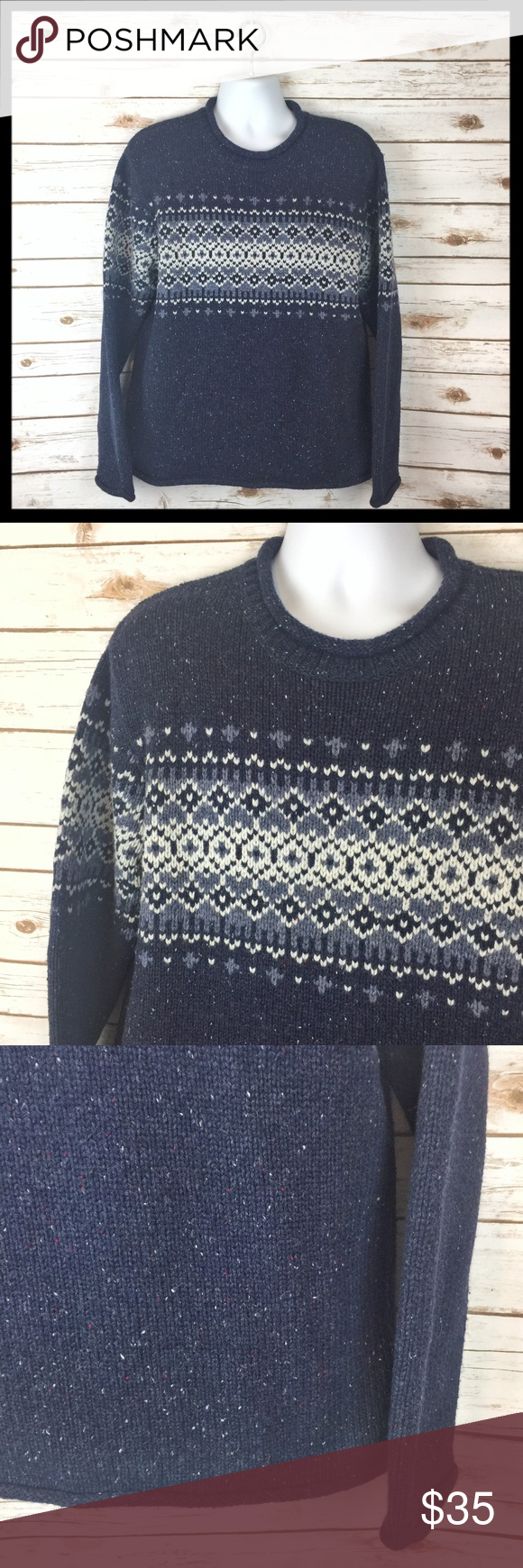 l.l bean // nordic fair isle knit wool sweater In a soft, warm and ...