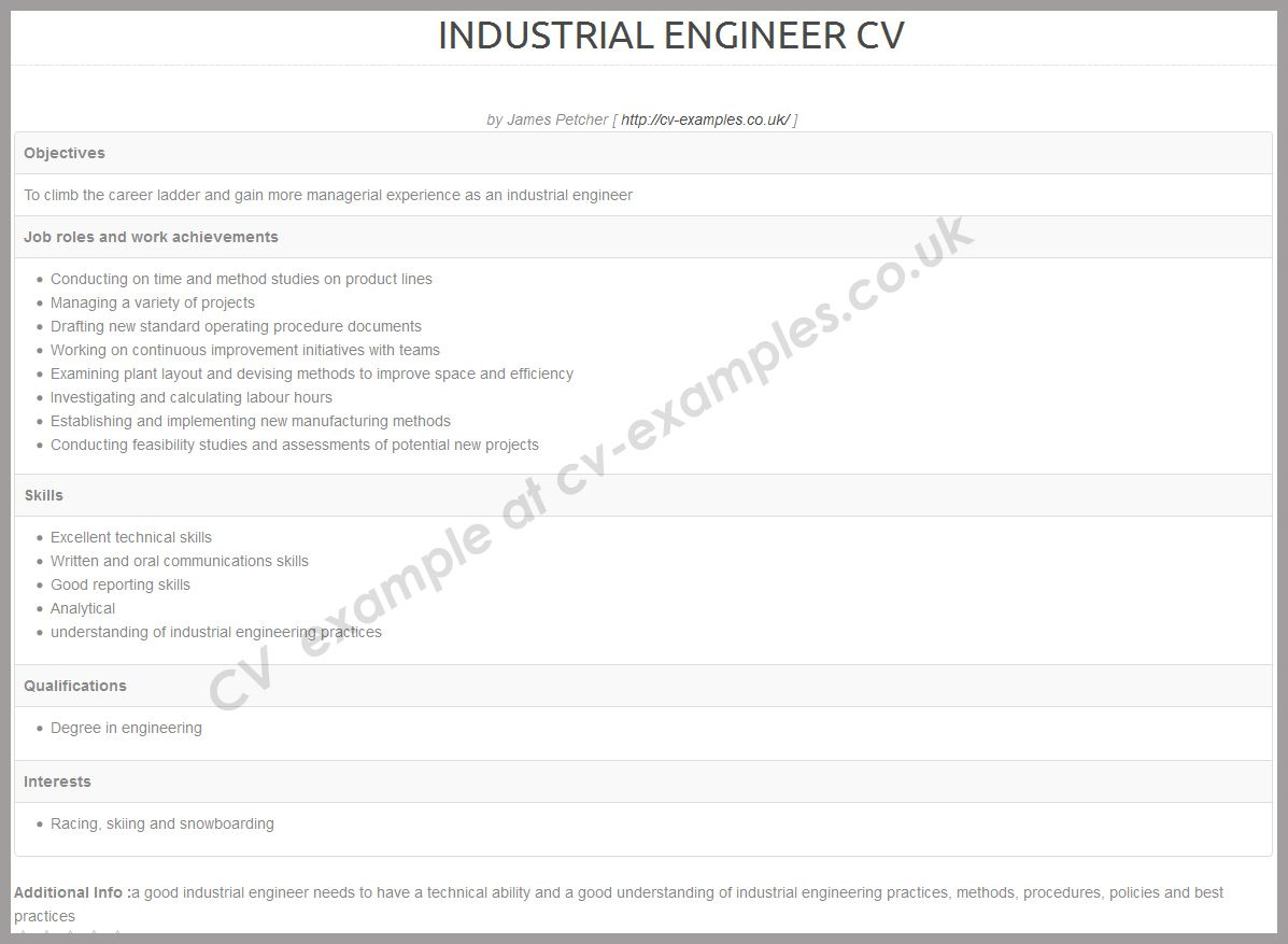 Cv example for an industrial engineer cv examples