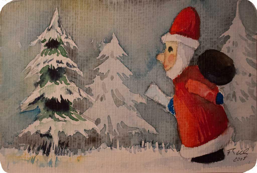 Morgen Kommt Der Weihnachtsmann C Aquarell Von Frank Koebsch Aquarell Weihnachten Weihnachtskunst Lustige Weihnachtsbilder