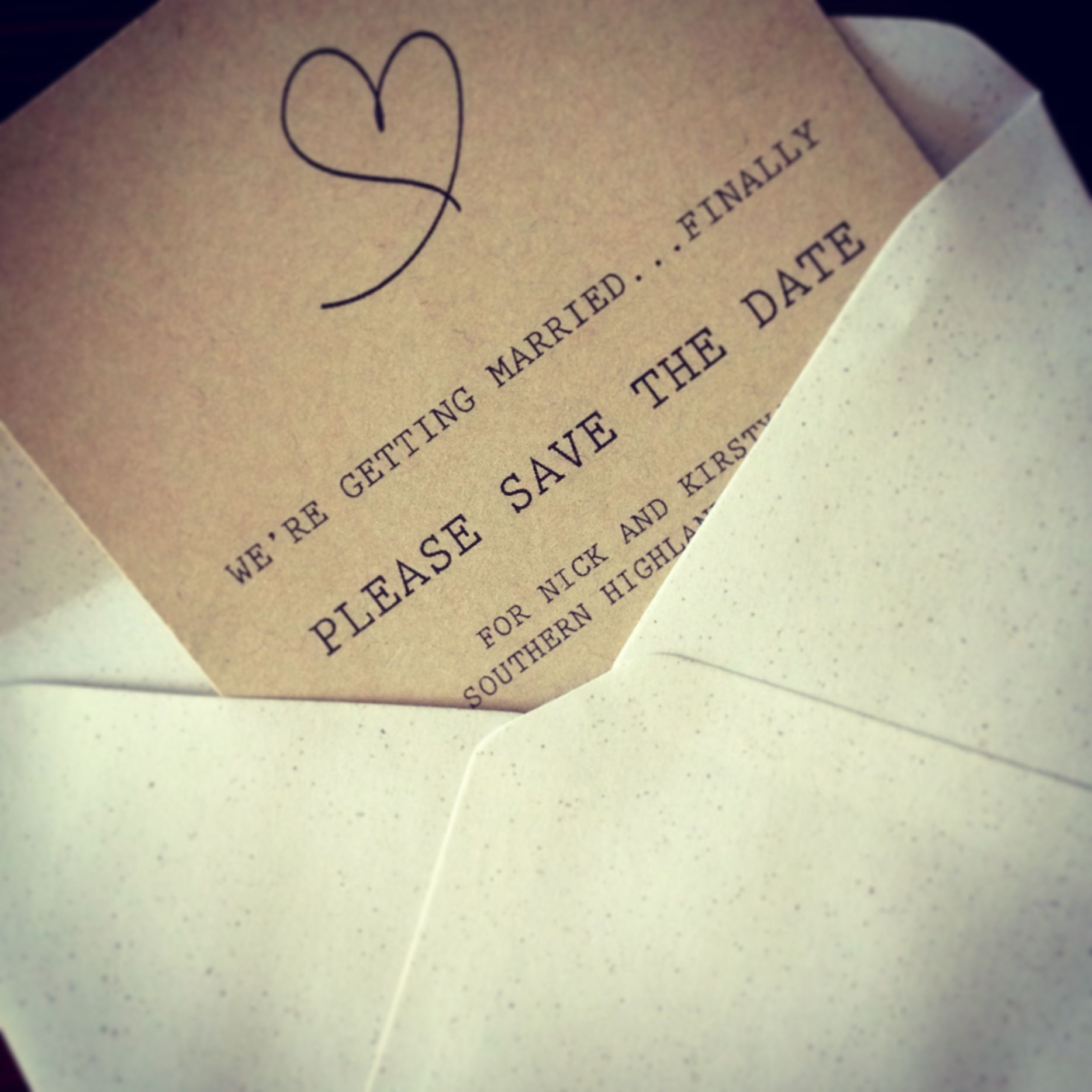 Speckled envelopes... Not matchy matchy but complimentary.