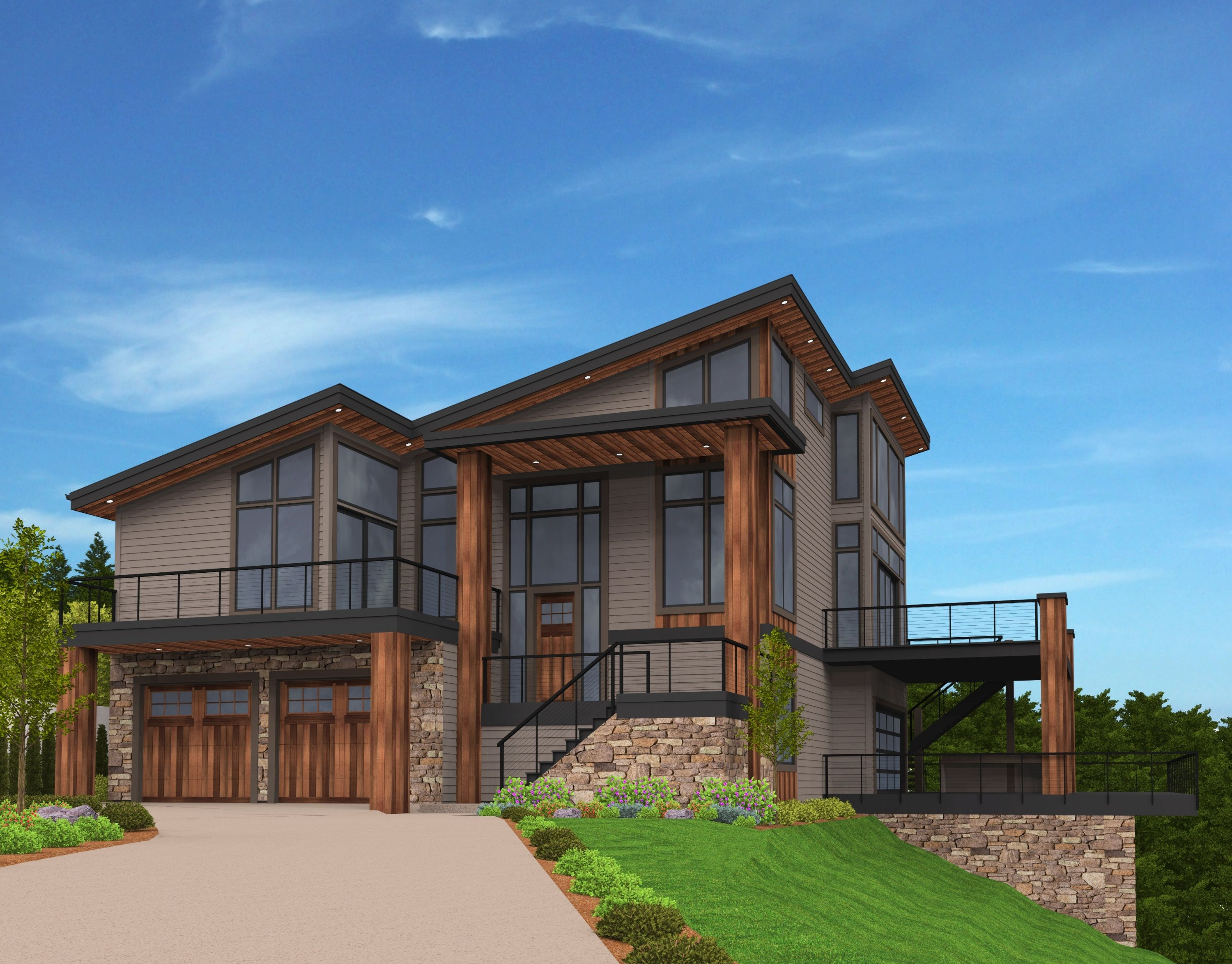 Oriented Perfectly For A View Lot This Shed Roof House Plan Will Leave You Breathless The M House Exterior House Designs Exterior Contemporary House Design