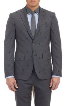 Wooster + Lardini Embroidered Face Three-Button Sportcoat