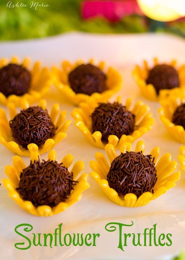 It's easy to make these chocolate sunflower truffles