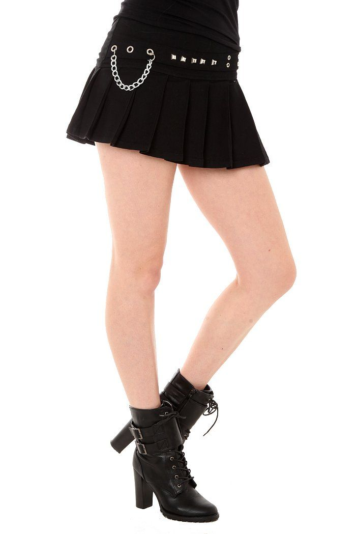 82d5231f69 Royal Bones Black Pleated Grommet Pyramid Stud Skirt - Hot Topic ...