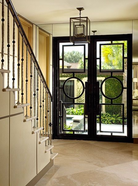 Black Metal Door With Geometric Shapes Exterior The