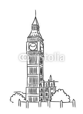 Vector Big Ben In London Big Ben Big Ben Drawing City Sketch