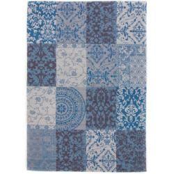 Handgefertigter Kelim-Teppich Siobhan aus Wolle in Blau #flowerfabric