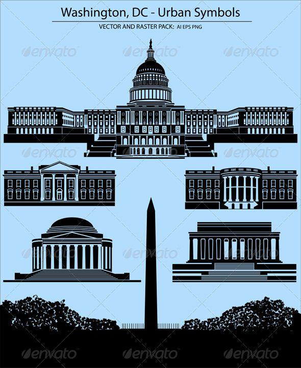 Washington Dc Urban Symbols Jefferson Memorial United States Capitol White House Washington Dc