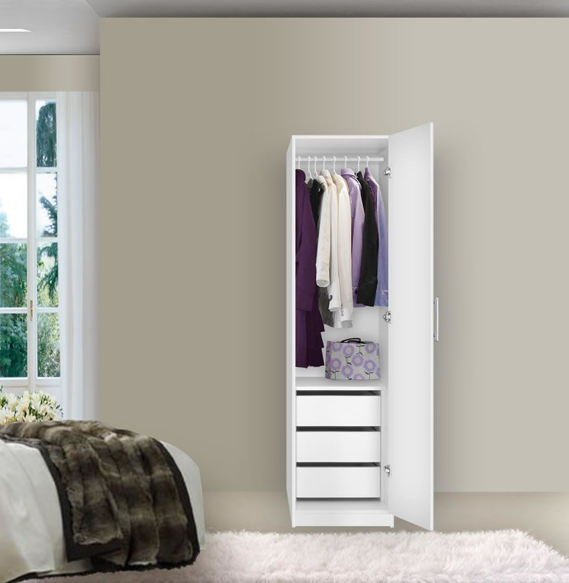 narrow closet rod corner hanging detail white steel with two product shelves door wardrobe double