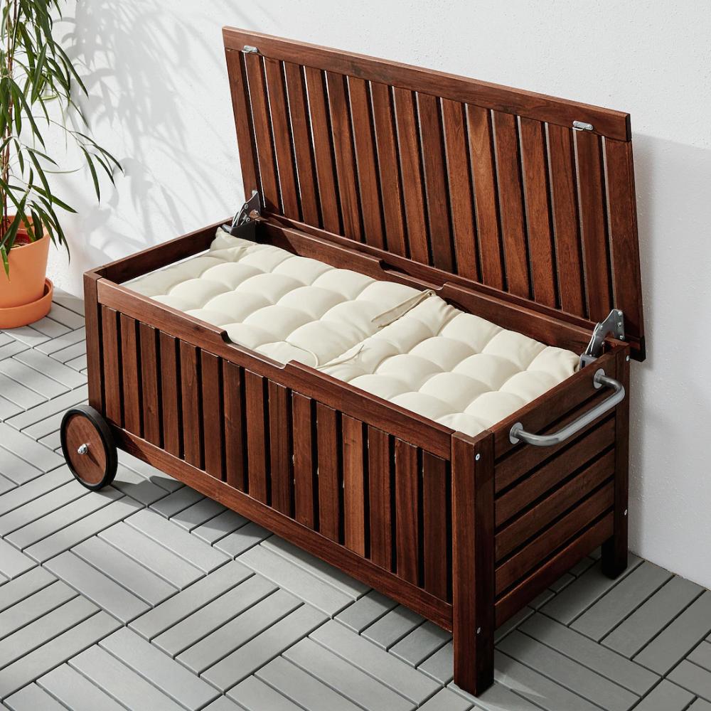Applaro Storage Bench Outdoor Brown Stained Brown Width 50 3 8 Ikea In 2020 Outdoor Storage Bench Used Outdoor Furniture Patio Storage