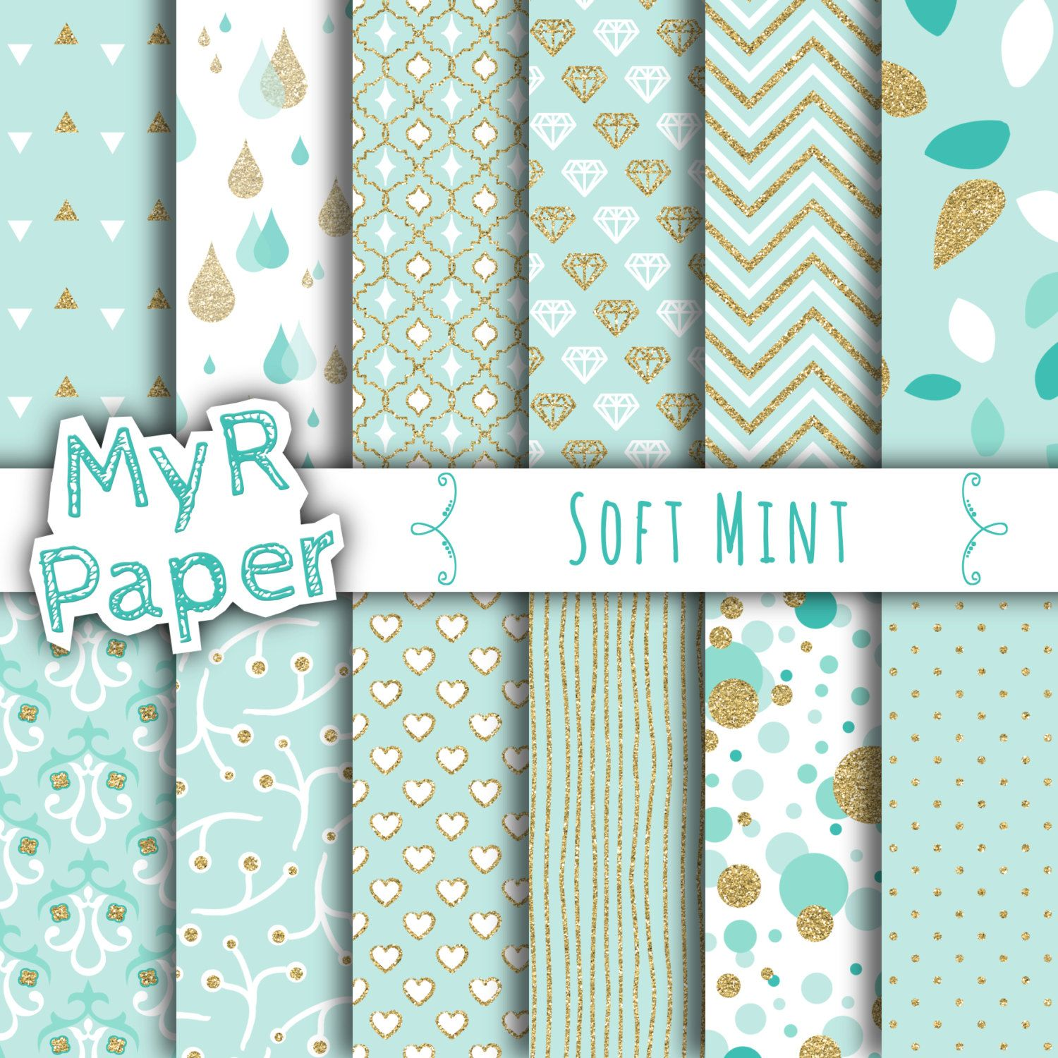 """Gold glitter green digital paper: """"SOFT MINT"""" light green and gold glitter pack of backgrounds with chevron, polka dots, stripes, hearts di MyRpaper su Etsy With #love by @myrpaper on @etsy   #pattern #design #graphic #paperdesign #papercraft #scrapbooking #digitalpaper"""