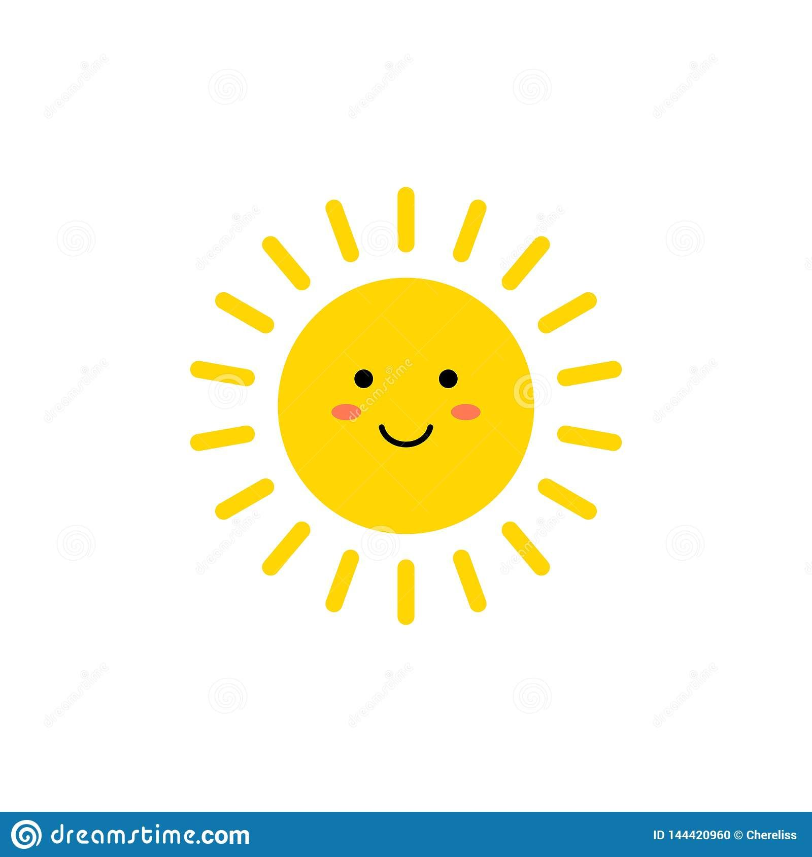 Illustration About Sun Vector Icon Cute Yellow Sun With Smiling Face Emoji Summer Emoticon Vector Illustration Isoalted Sun Doodles Emoticon Illustration