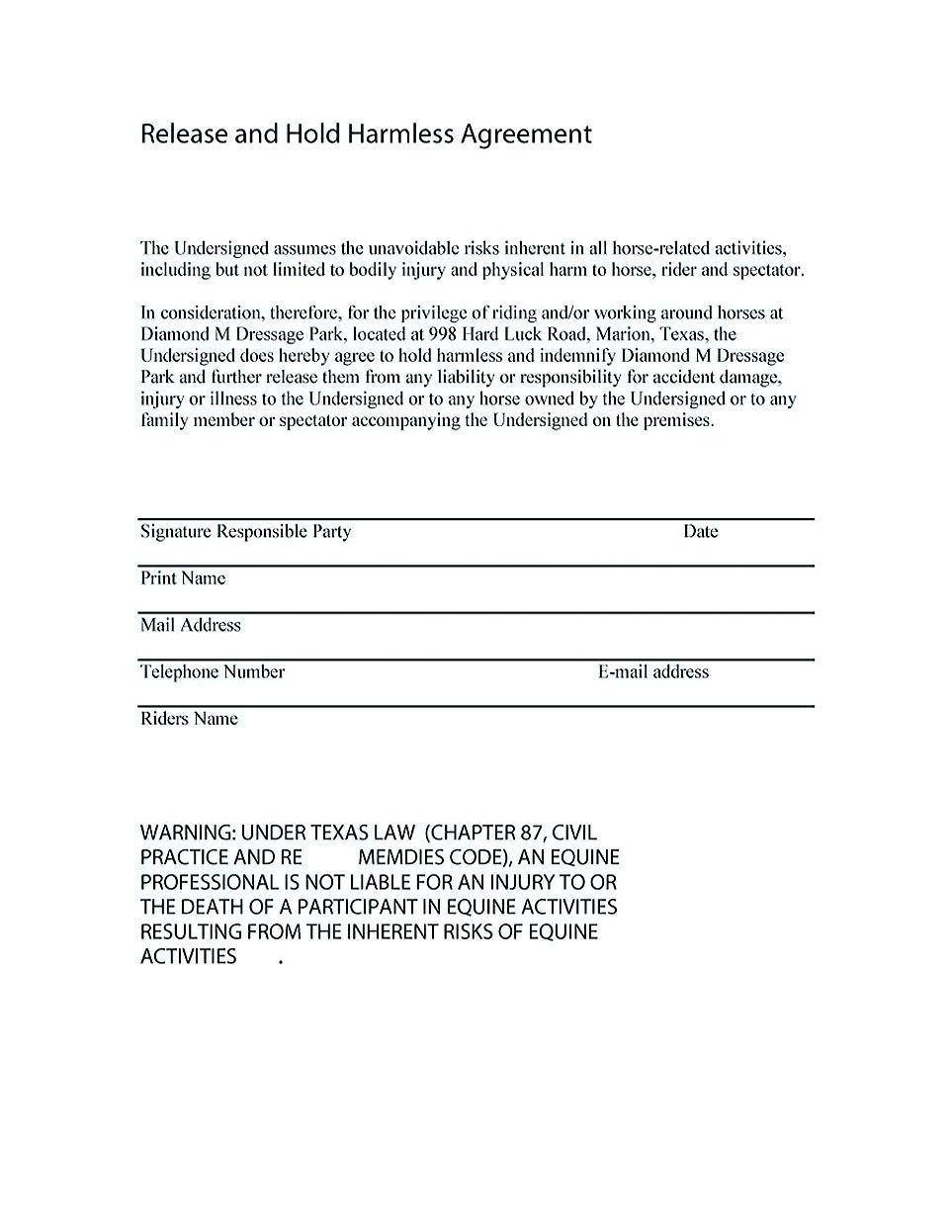 Hold Harmless Agreement Sample Wording Making Hold