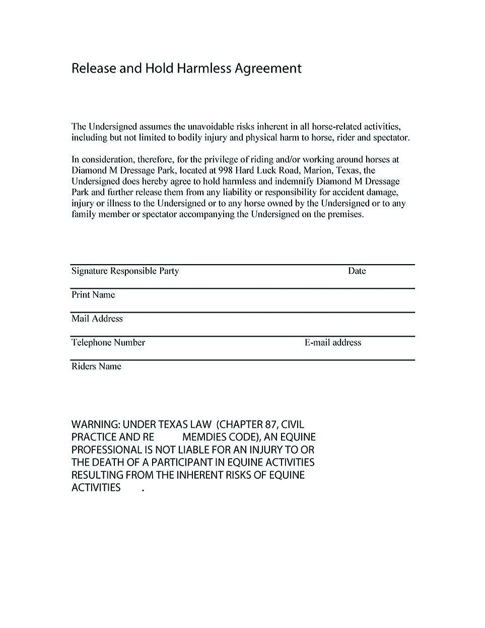 Hold Harmless Agreement Sample Wording Making Hold
