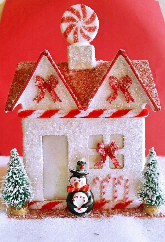 Christmas Glitter House Christmas Putz House Santa Candy Cane Best Candy Cane House Decorations