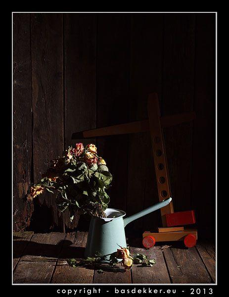 Fotografie – Stillleben mit getrockneten Rosen in einem Krug