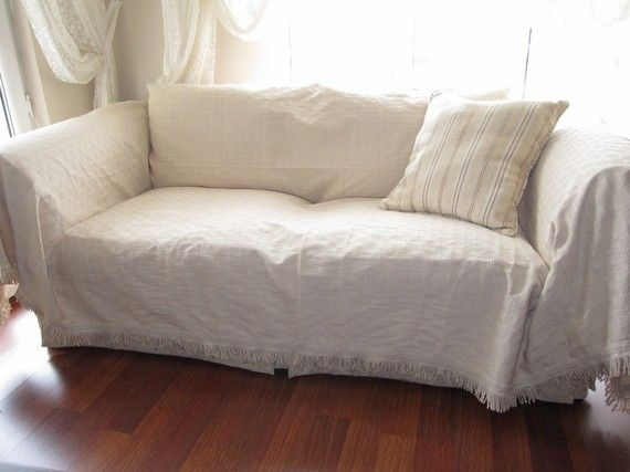 Large - Sofa throw covers rectangle tassel ivory-couch ...