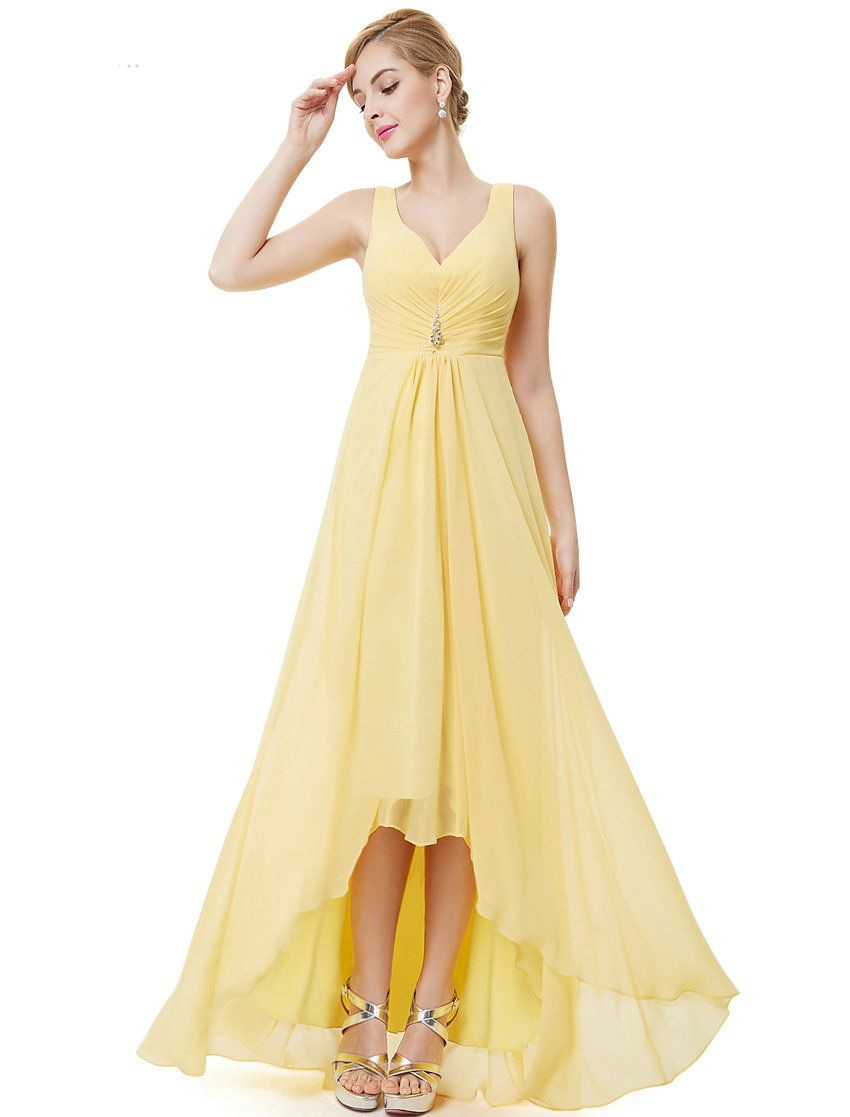 Formal bridesmaid dresses double v neck rhinestones long lace