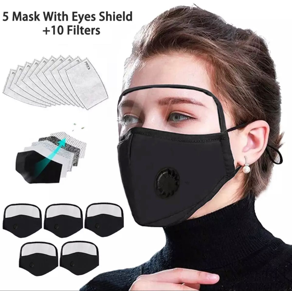 Activated Carbon Filter Replaceable Haze Face Mouth Nose Health Washable Reusable Cotton Bandana with Detachable Eye Shield Kids Face Bandanas with Breathing Valve