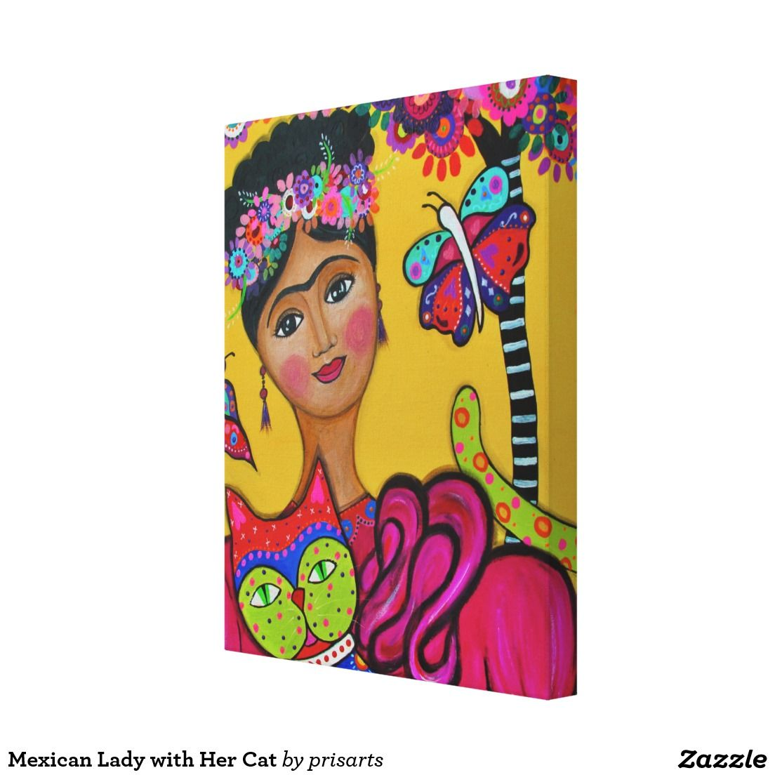 Mexican Lady with Her Cat Canvas Print   Prisarts Paintings ...