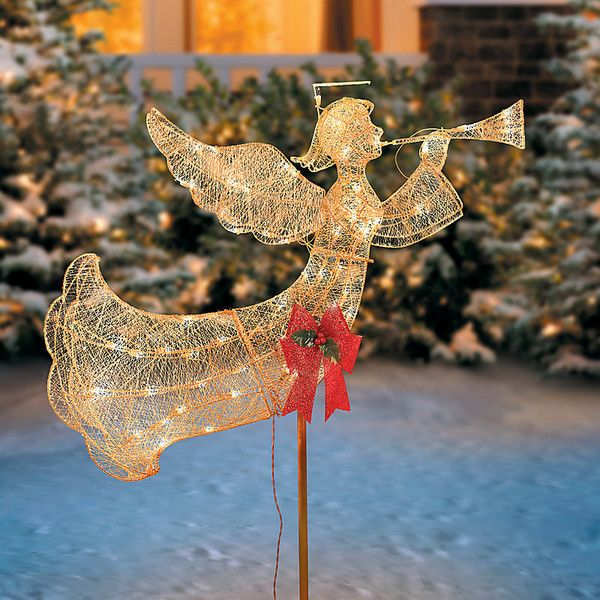 Improvements Lighted Flying Angel with Trumpet Christmas Decoration - outdoor angel christmas decorations
