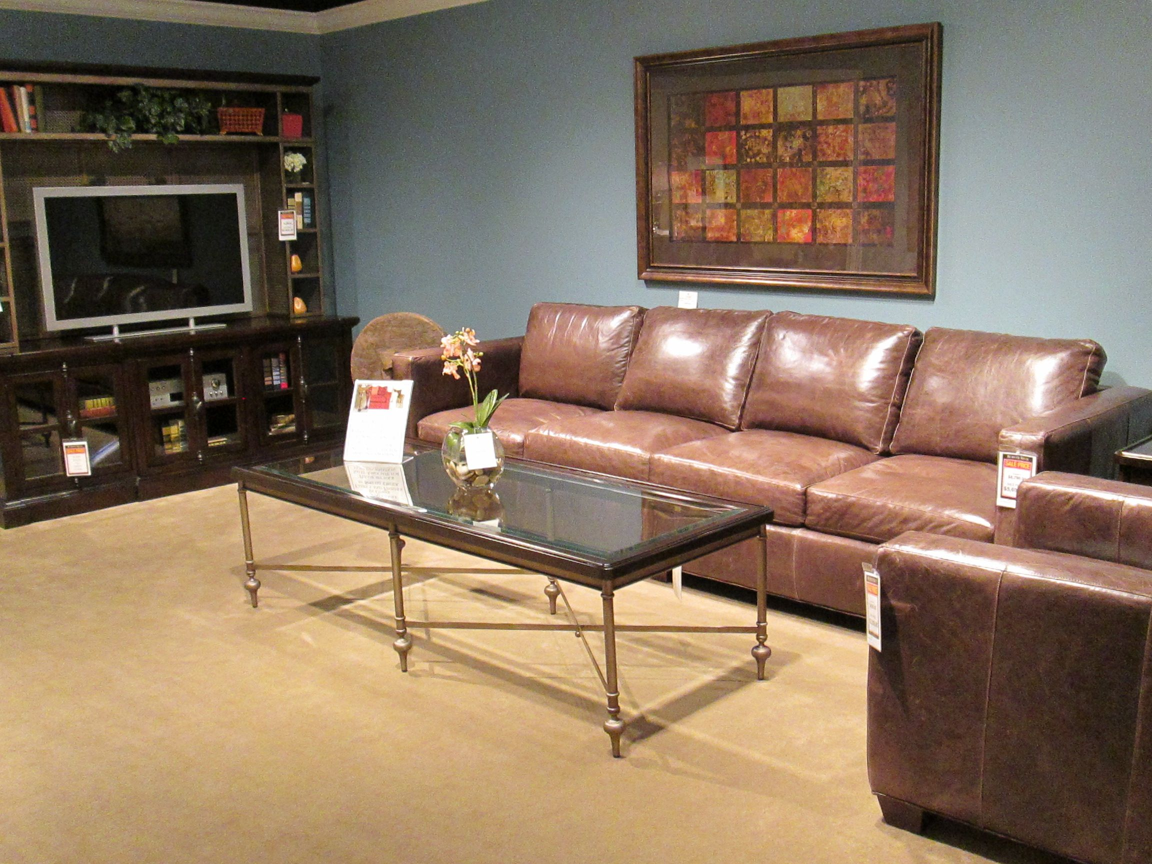 Check Out This Extra Long 4 Seat Cushion Leather Sofa