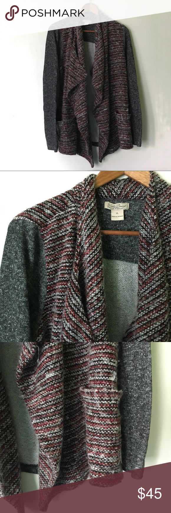 Lucky Brand // Mixed Media Waterfall Cardigan | Black weave, Grey ...