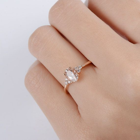 Rose Gold Engagement Ring Oval Cut Morganite Solitaire Butterfly Vine Leaf Diamond Halo Women Bridal Anniversary Gift For Her Inspire