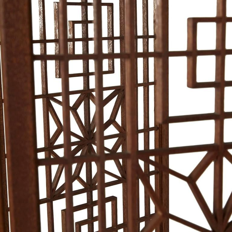Ornate Latticed Wooden Folding Screen Room Divider, circa 1960s 2