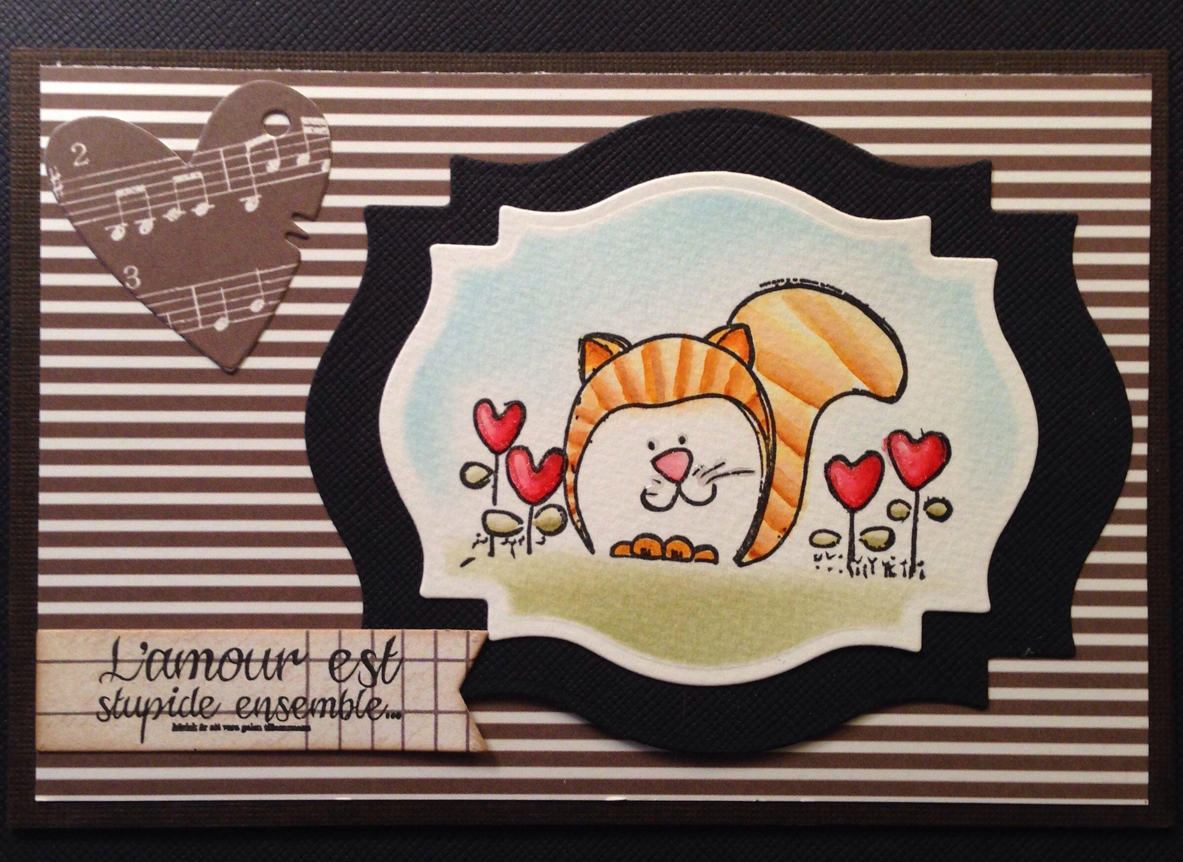 Förslag på gummistämpel. Visst är katten söt?! Nilla har ritat den. :)