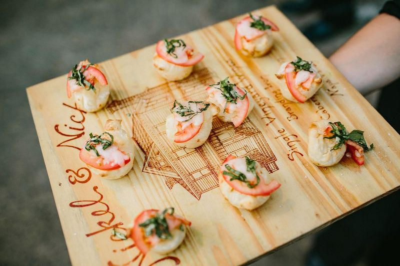 Wedding Menu Tray Passed Appetizer On Wood Tray Mini Margherita