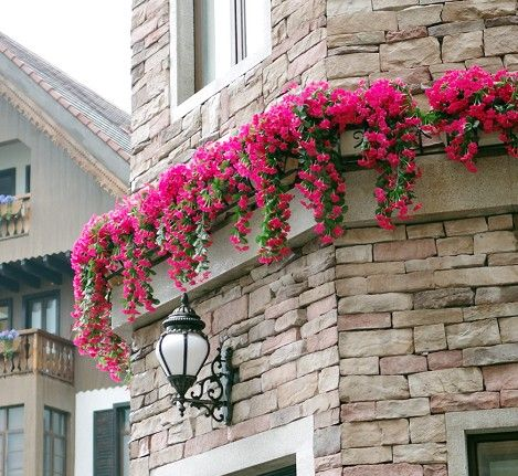 artificial flowers hanging on outside wall