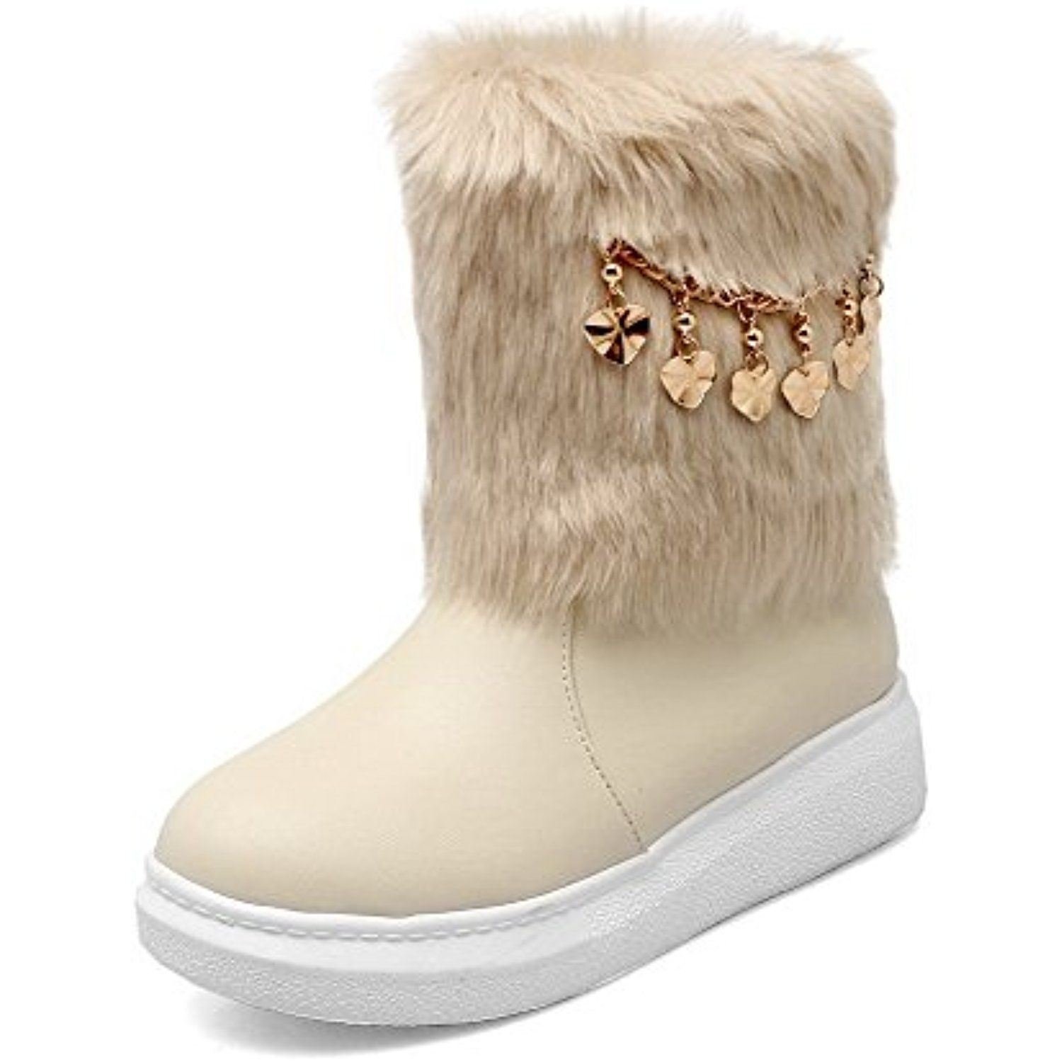 Women's Pull-On Low-Heels PU Solid Low-Top Snow-Boots