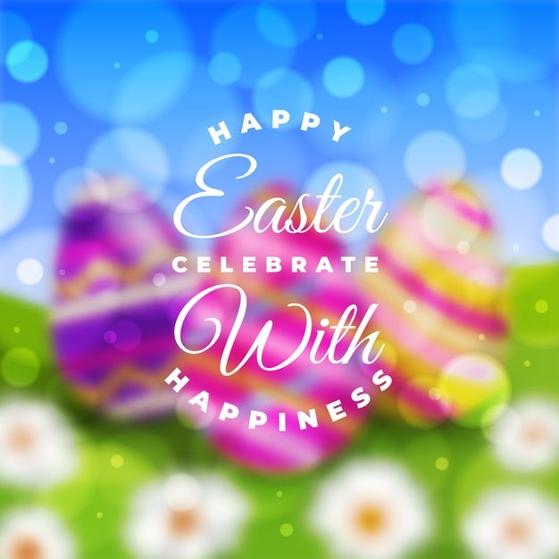 Colorful blurred happy easter day Free V  Free Vector