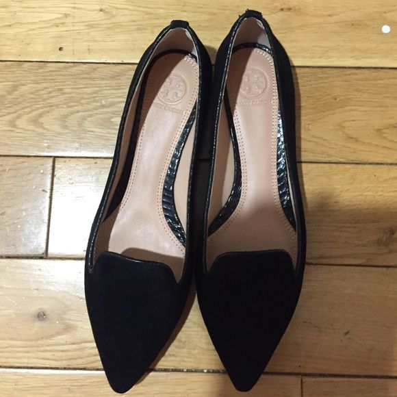 Tory burch flats Size 8. Worn once indoors only - basically new! Black pointy toe with gold heel detail. Outside is black suede Tory Burch Shoes Flats & Loafers
