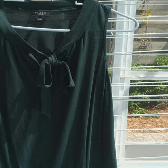 Tie front ladies top Cute dark Forrest green sleeveless top with self tie at neckline. Banded hem at bottom, loose fitting. Talbots Tops Blouses