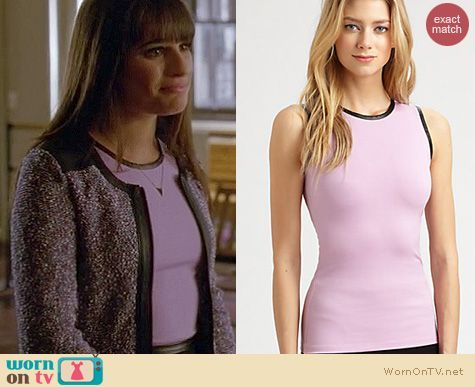 Rachel's pink top with black leather trim and grey boucle jacket on Glee. Outfit Details: http://wornontv.net/14719/ #Glee