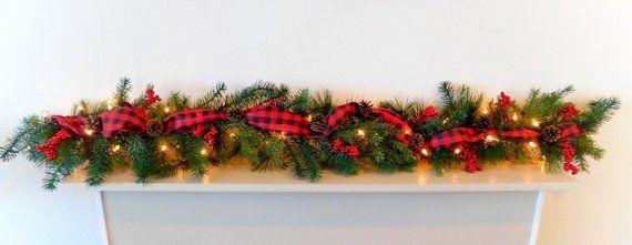 Farmhouse Christmas Garland Christmas Mantle Decoration Rustic
