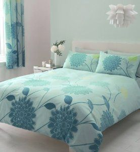 Aqua Teal Lime Double Duvet Set With Matching Curtains 66 X 72 Sheet