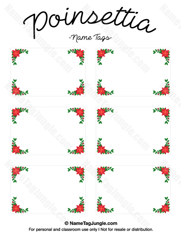 Free Printable Poinsettia Name Tags The Template Can Also Be Used For Creating Items Like Labels And Place C Christmas Name Tags Printable Name Tags Name Tags