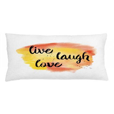 """East Urban Home Live Laugh Love Indoor/Outdoor Lumbar Pillow Cover, Polyester/Polyester blend in Yellow/Gold, Size 16"""" x 36"""" 