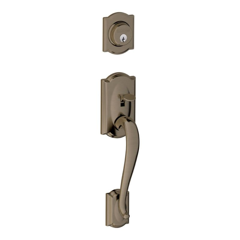 Schlage F92 Cam Camelot Dummy Exterior Handleset From The F Series Antique Pewter Set