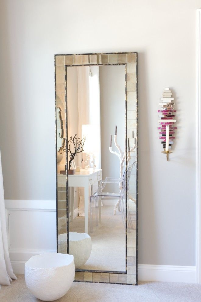 Full Length Wall Mounted Mirror Bedroom Contemporary With Baseboards
