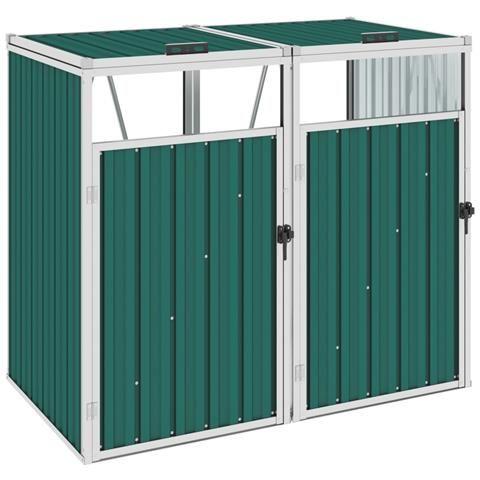 Double Green Waste Bin Cover 143x81x121 Cm In Steel