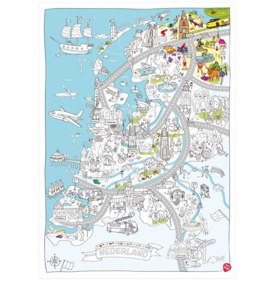 Very Mappy Nederland Xxl Speel Kleurplaat Van Nederland