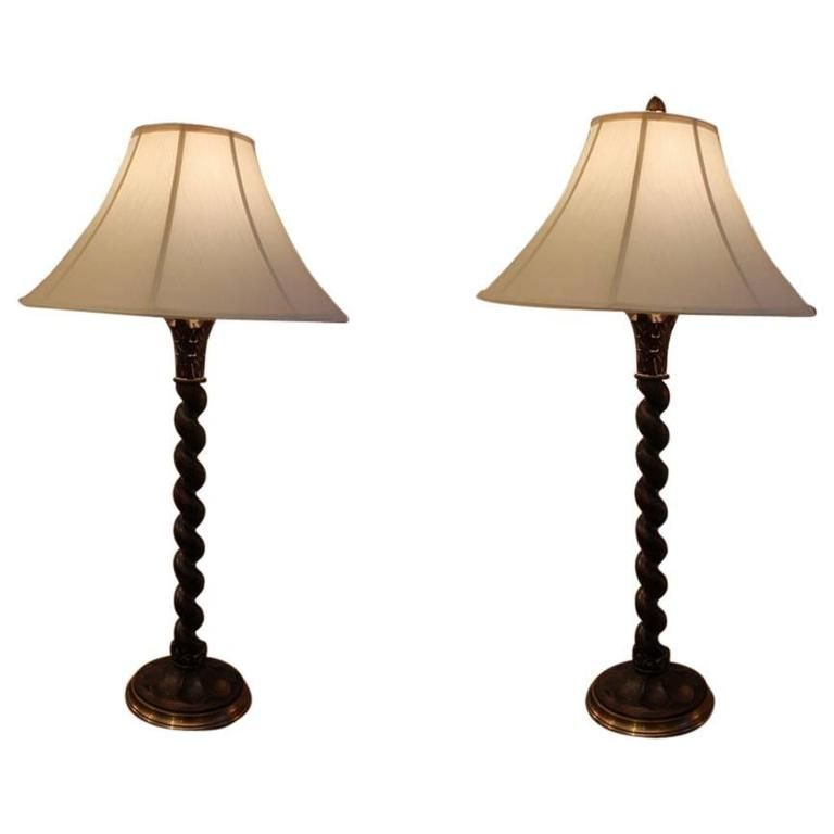 Pair Of Twisted Wood And Brass Chapman Table Lamps Pinterest