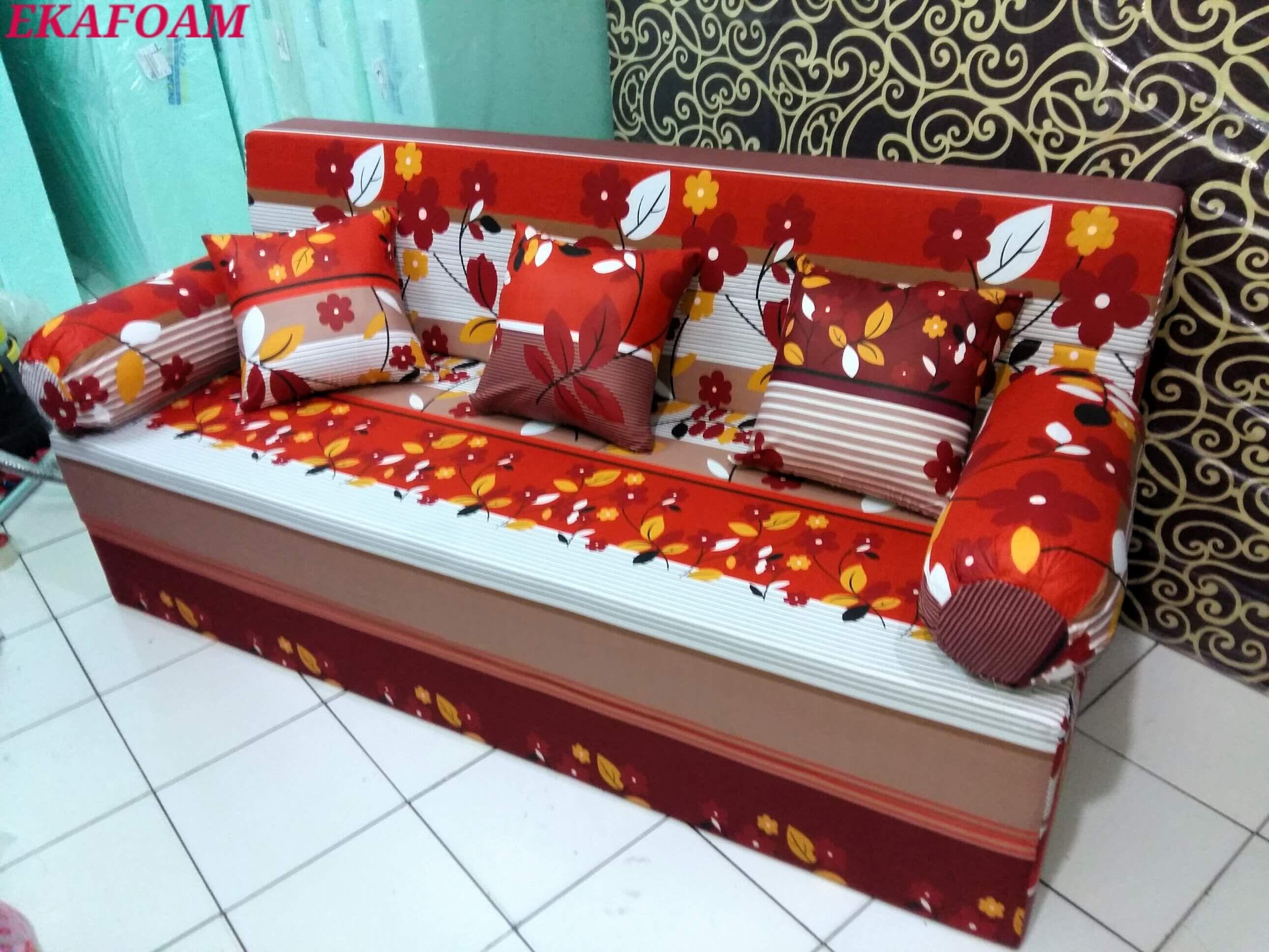 Sofa Bed Inoac Terbaru 2016 Motif SAKURA MERAH MAROON Saat Di