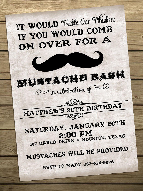Mustache Bash birthday party invitation- DIY Printable. $10.00, via ...